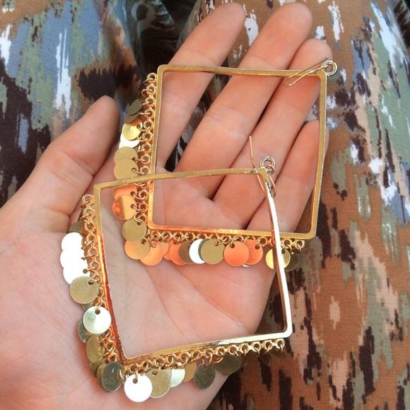 Vintage Jewelry - Golden Gypsy Disco Square Sequin Hoop Earrings